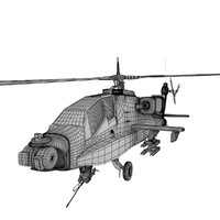 untextured Apache helicopter gunship