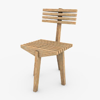 wooden chair 3d 3ds