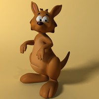 Cartoon kangaroo RIGGED and ANIMATED