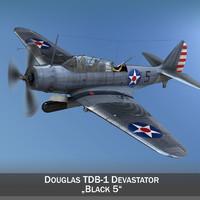 douglas tdb-1 devastator bomber 3d model