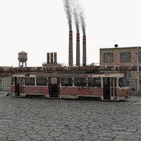 Old Abandoned Tram and Factory Scene