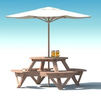 Garden Furniture: exterior Picnic deck Table in grey wood with umbrella, Parasol and Beer for cafe or terrace