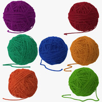 Ball of Yarn in 7 Colors and Poses
