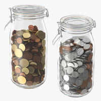 Glass Jars With Coins Dollars and Euro