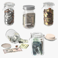Glass Jars With Currency Collection