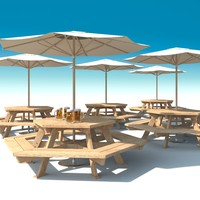 Outdoor furniture: exterior Picnic deck Table with umbrella Parasol and Beer for cafe, terrace or garden.