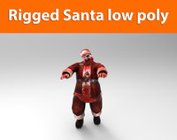 zombie santa rigged low poly game ready