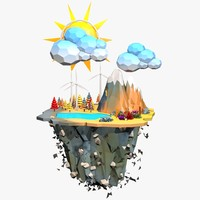 Floating Island Low Poly