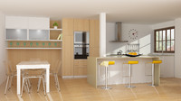 Modern kitchen interior with parquet floor