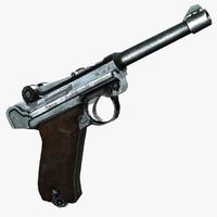 3d model luger p08 parabellum pistole