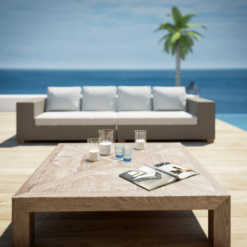 Poolside garden furniture 3d model for Outdoor furniture 3d model