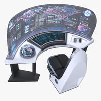Sci-fi Command Panel Console