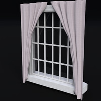 3d window glass frame curtains model