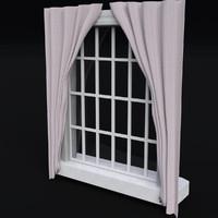 3d window glass frame curtains model