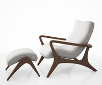 Contour low back lounge chair and foot stool by Vladimir Kagan