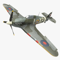 Hawker Hurricane Weathered Rigged
