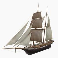 3d model schooner halcon