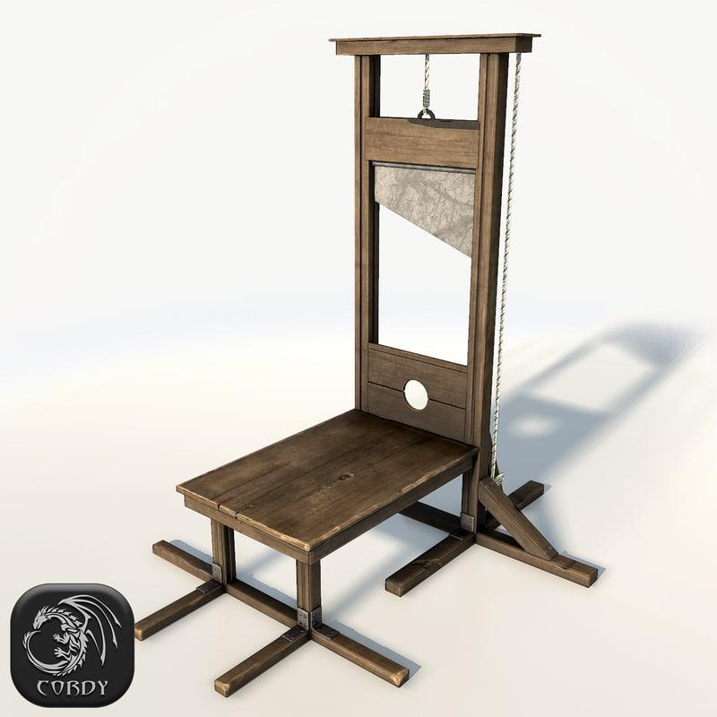 3d 3ds guillotine low poly. Black Bedroom Furniture Sets. Home Design Ideas