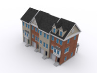 Colonial townhouse low poly