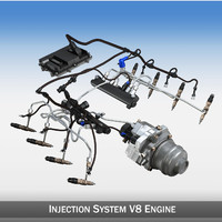 injection v8 engine 8 3d model
