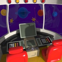 Cartoon Spacecraft Cabin