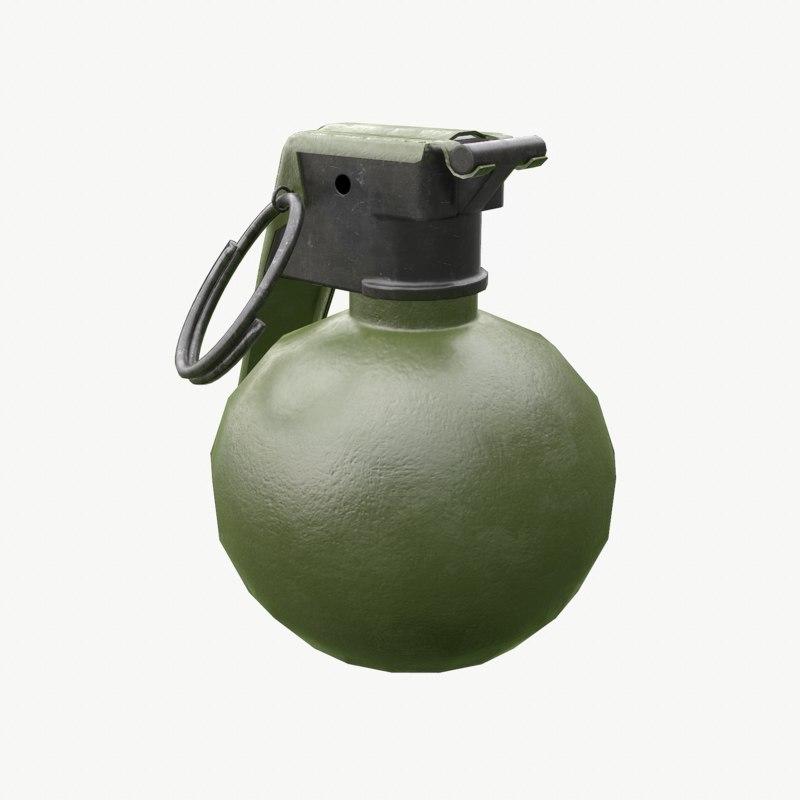 3D 3ds frag grenade M18