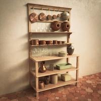Vintage Wooden Kitchen Shelf