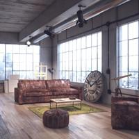 3d loft interior scene model