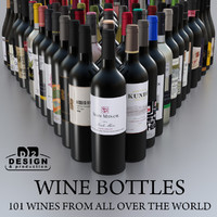 Wine bottles-101 wines from all over the world