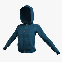 Hooded Zip Up Sweatshirt Low Poly