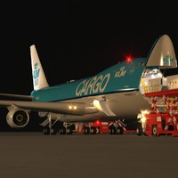 B 747-400F KLM Cargo Loading Operation Scene