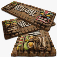 Wooden Tiki Welcome Sign