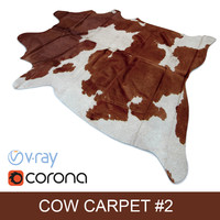 Dark-Brown Cowhide animal skin rug ready for photorealistic interior vizualisation