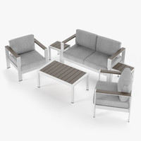 Aluminium outdor furniture set, armchair, loveseat, coffee table, side table