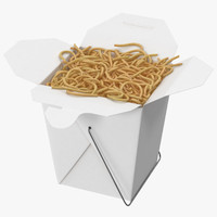 Chinese Takeout Box Open With Noodles