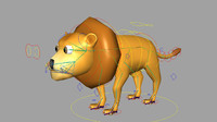 Lion rigged low poly model