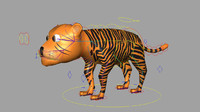 Tiger rigged low poly model