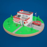 Low Poly Small Shop Building