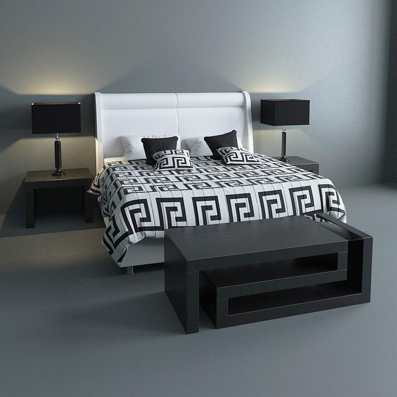 3d max versace bed set