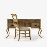 Archivist Writing Desk Ladderback Side Chair