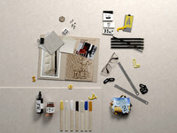 Composition Pictures,Office Supplies, Oil and Glasses