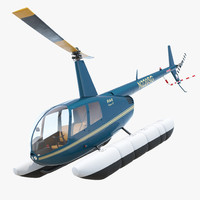 Helicopter Robinson R44 With Floats Rigged