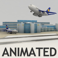Airport with animated planes