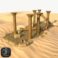 Ancient desert ruins low poly