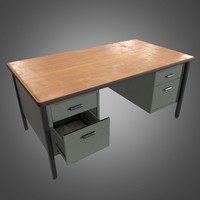 Metal Office Desk - PBR Game Ready