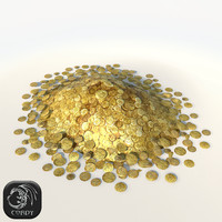 Pile of gold coins low poly