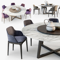 Poliform Grace chair Concorde table set01