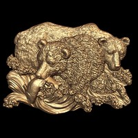 (364) Bas Relief Bears -3d STL model for CNC