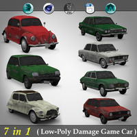 7 in 1 ( Low Poly Damaged Car )