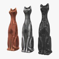 Cat figurine metal and plastic